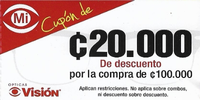 Cupon de Opticas Vision